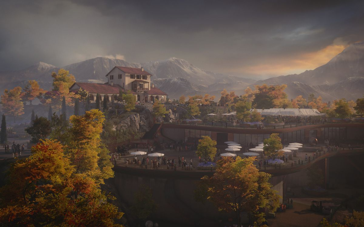 a Hitman 3 screenshot from Mendoza with a view of the winery and villa from a scenic overlook