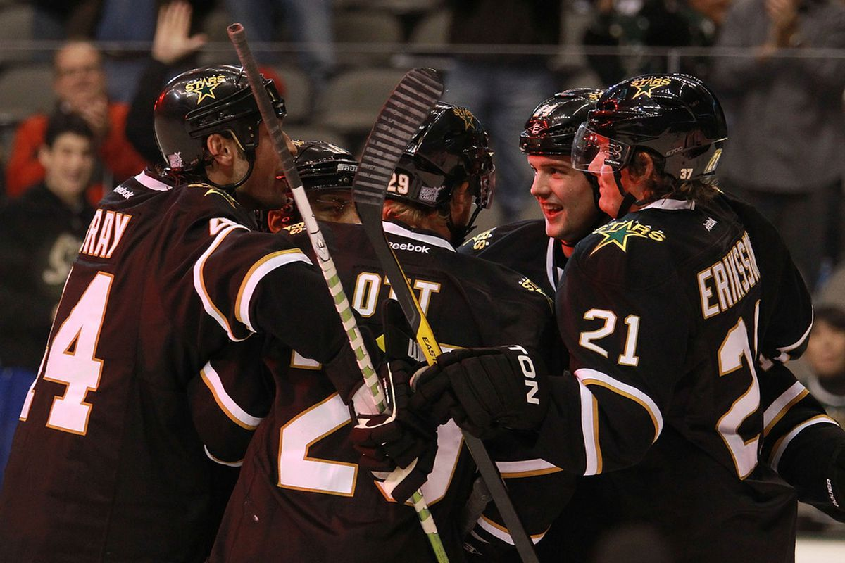 DALLAS, TX - OCTOBER 27:  The Dallas Stars celebrate a goal by Trevor Daley #6 against the Los Angeles Kings at American Airlines Center on October 27, 2011 in Dallas, Texas.  (Photo by Ronald Martinez/Getty Images)