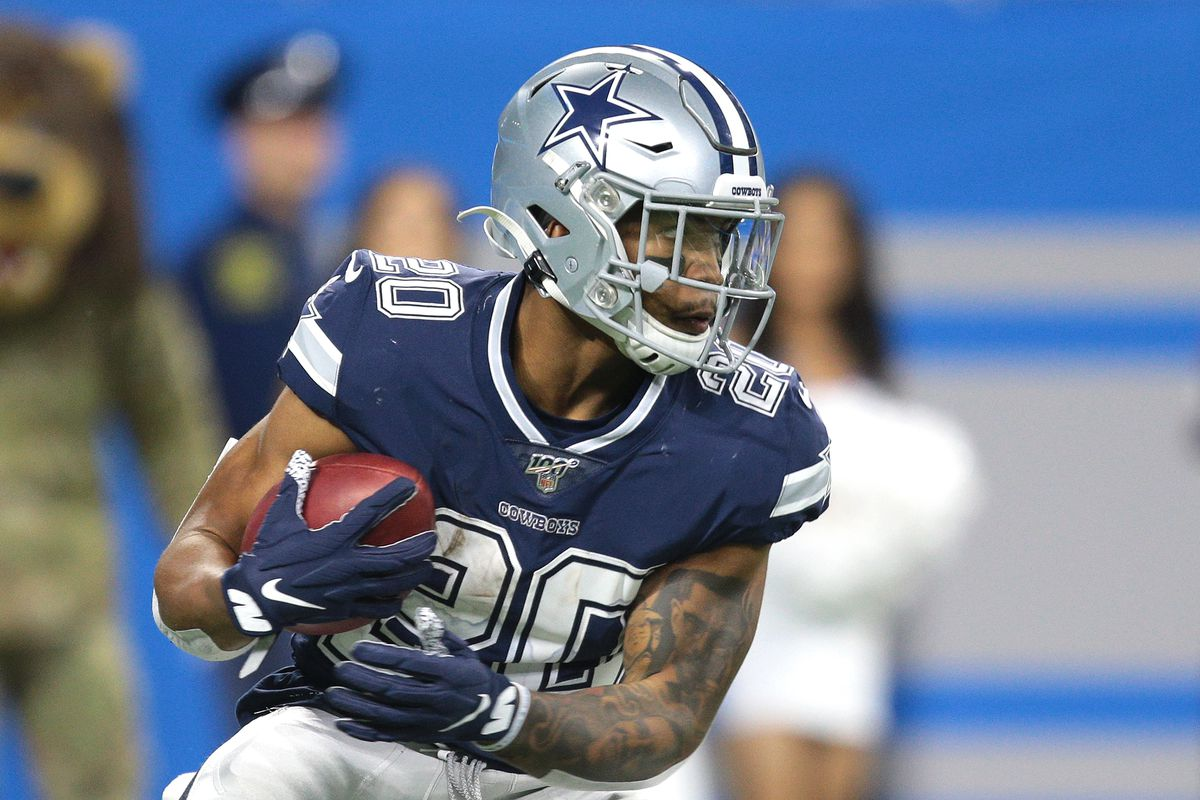 Dallas Cowboys running back Tony Pollard (20) runs the ball during the second half of an NFL football game against the Detroit Lions in Detroit, Michigan USA, on Sunday, November 17, 2019