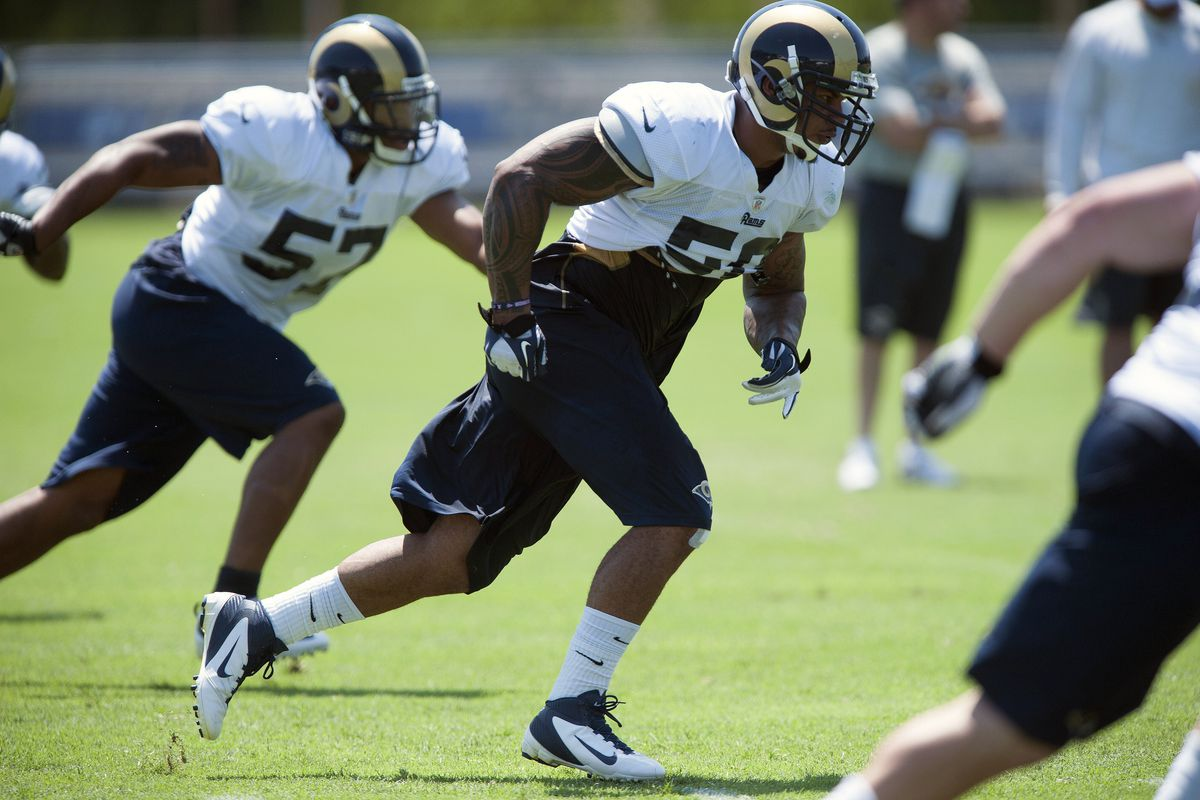 July 27, 2012; St. Louis, MO, USA; St. Louis Rams linebacker Aaron Brown (50) and linebacker Sammy Brown (57) run through a drill during training camp at ContinuityX Training Center. Mandatory Credit: Jeff Curry-US PRESSWIRE