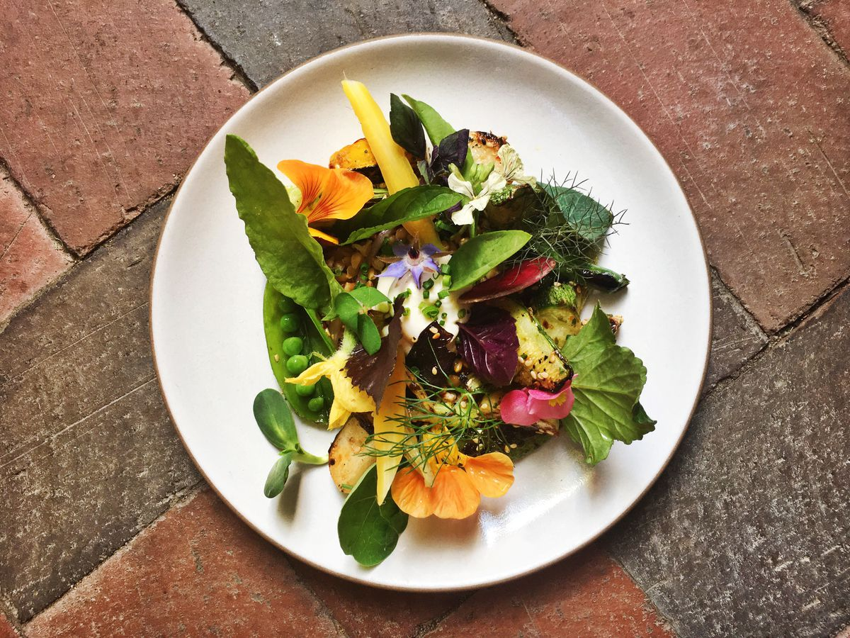 Hearth-roasted vegetables from the Dabney are available as part of a three-course prix fixe