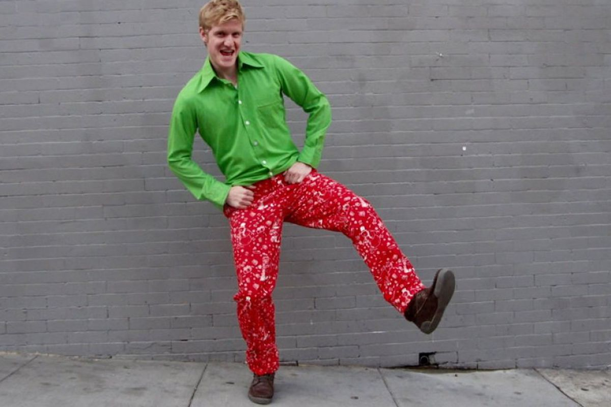 """Just a dude, not the CEO. Photo via <a href=""""http://www.betabrand.com/nauseating-holiday-pants.html"""">Betabrand</a>"""