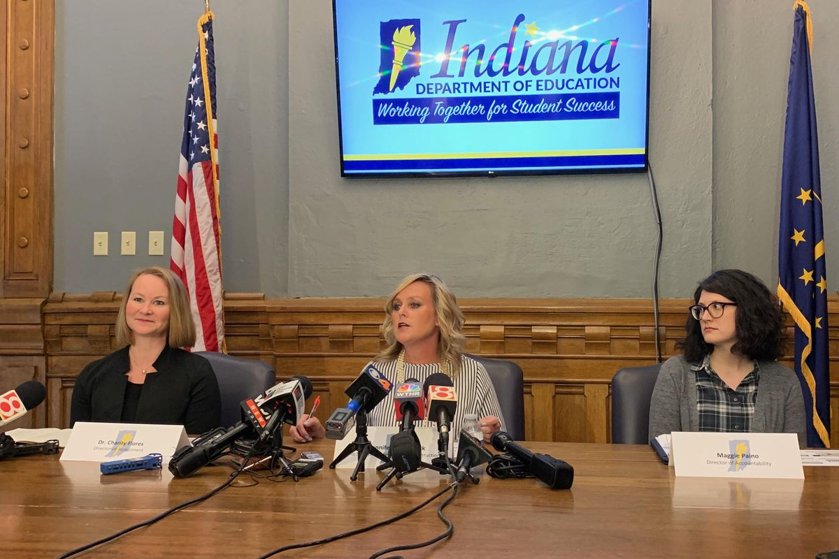"""State Superintendent Jennifer McCormick addresses media on Aug. 28, 2019. McCormick announced she will ask legislators for a hold harmless exception and """"emergency decision"""" power for the state education board prior to the release of 2019 ILEARN scores."""