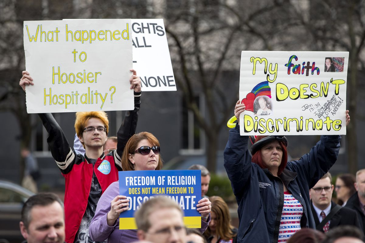 Opponents of the Indiana Religious Freedom Restoration Act protest outside the City County Building on March 30, 2015 in Indianapolis.