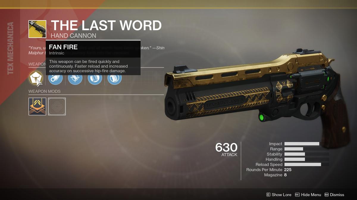 The Last Word Exotic Destiny 2