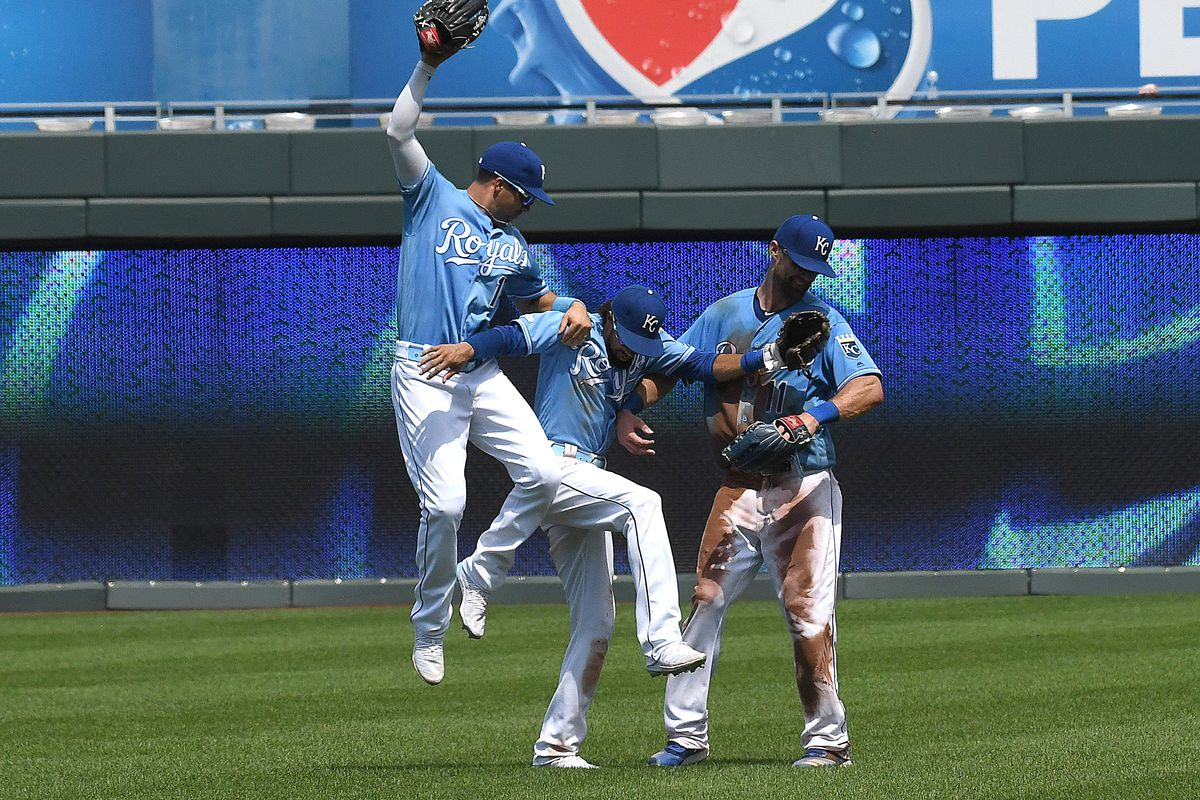 Kansas City Royals players celebrate after winning a Major League Baseball game between the Chicago White Sox and the Kansas City Royals on July 18, 2019, at Kauffman Stadium, Kansas City, MO. From left are Nicky Lopez (1), Billy Hamilton (6), and Bubba S