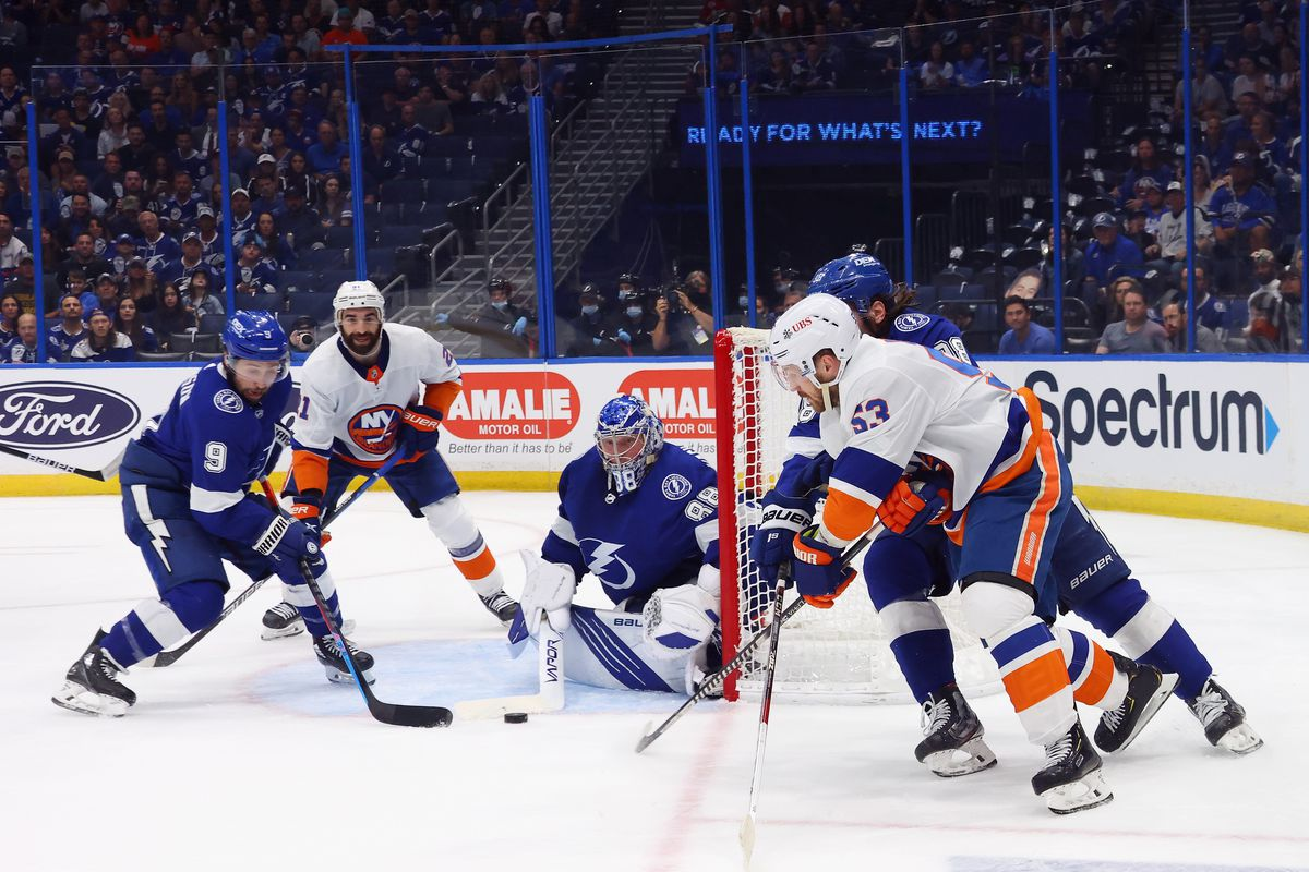 Tampa Bay Lightning defend against New York Islanders in Game 7 of the NHL Stanley Cup Semifinals during 2021 Stanley Cup Playoffs at Amalie Arena on June 25, 2021 in Tampa, Florida.