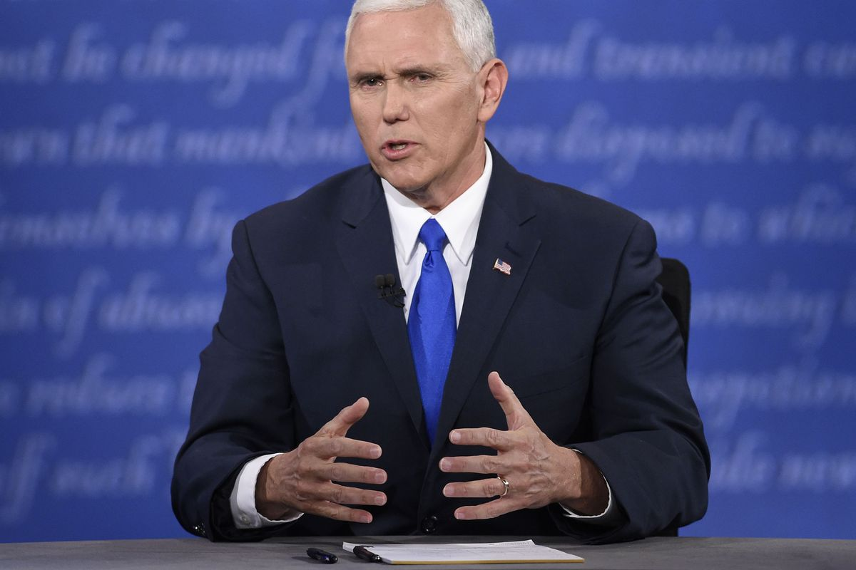 Republican vice presidential candidate Mike Pence speaks during the US vice presidential debate at Longwood University in Farmville, Virginia, on October 4, 2016.