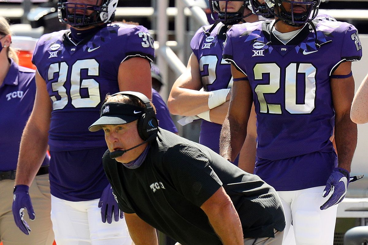 Head coach Gary Patterson of the TCU Horned Frogs watches the game against the Iowa State Cyclones from the sidelines at Amon G. Carter Stadium on September 26, 2020 in Fort Worth, Texas.