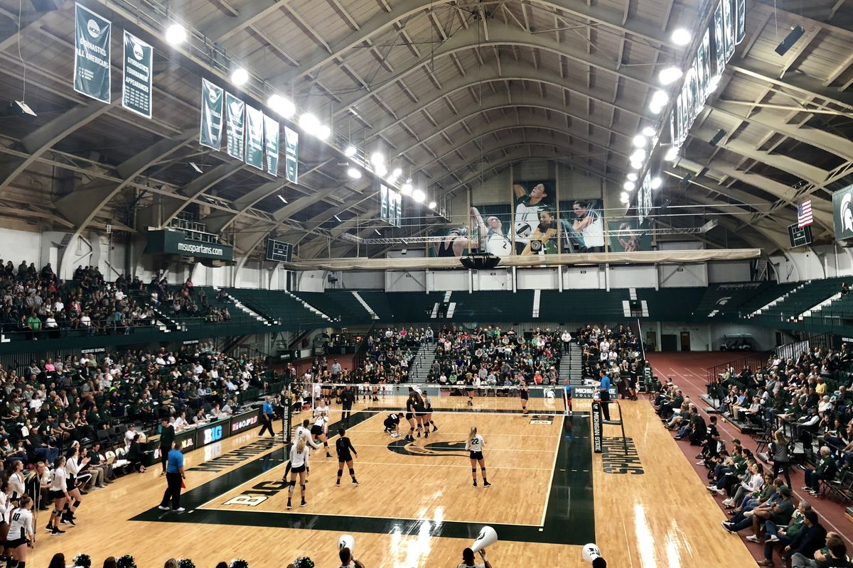 The Michigan State Spartans volleyball team takes on the Purdue Boilermakers at Jenison Field House in 2018.