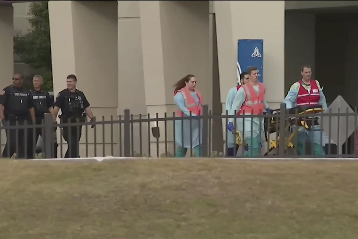 Emergency personnel respond to a shooting at the Naval Air Station in Pensacola, Florida, on December 6, 2019.