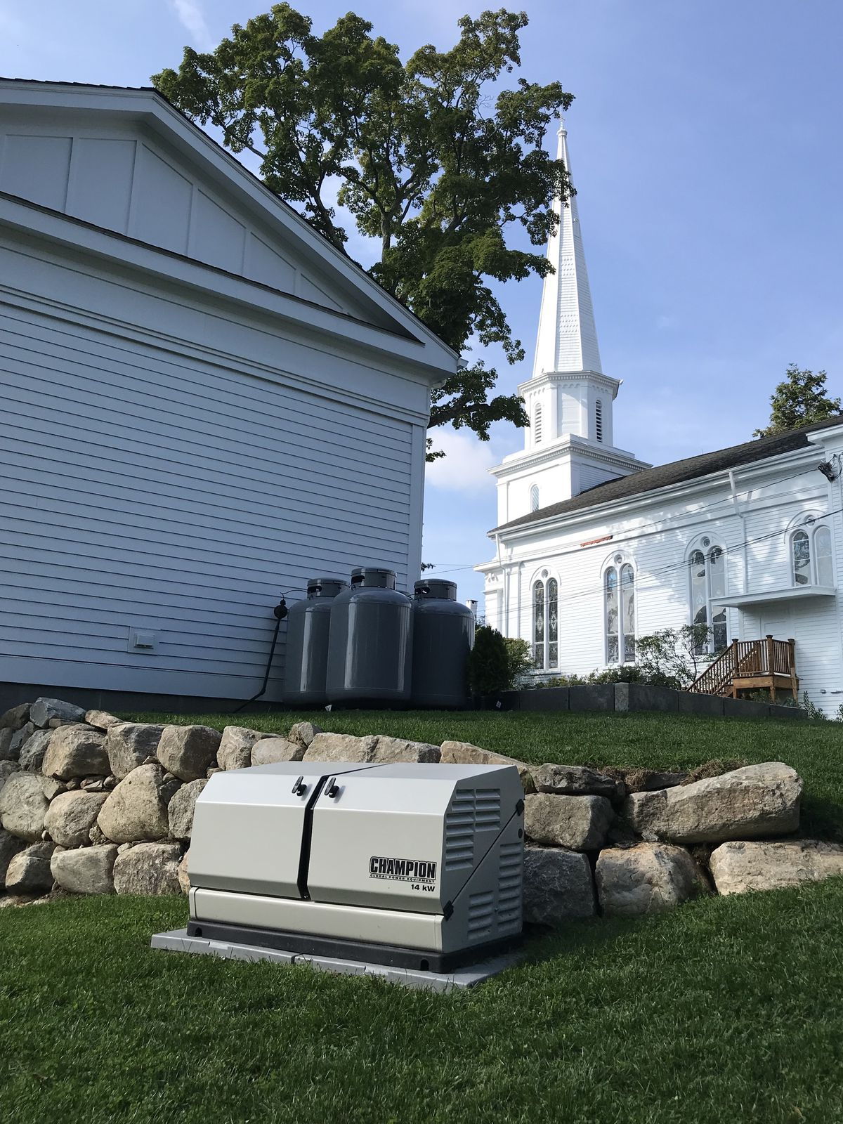 Champion standby generator at the 2019 Idea House, New Canaan, CT