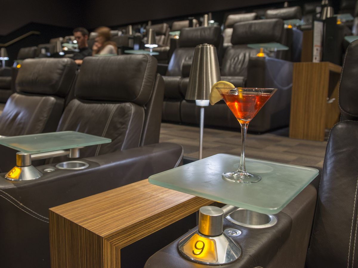 The Cinepolis Luxury Cinemas in Rancho Santa Margarita will deliver drinks and food to your luxury seat during the movie. A movie goer just presses a button in the armrest and someone will come to take your order and bring it to you.