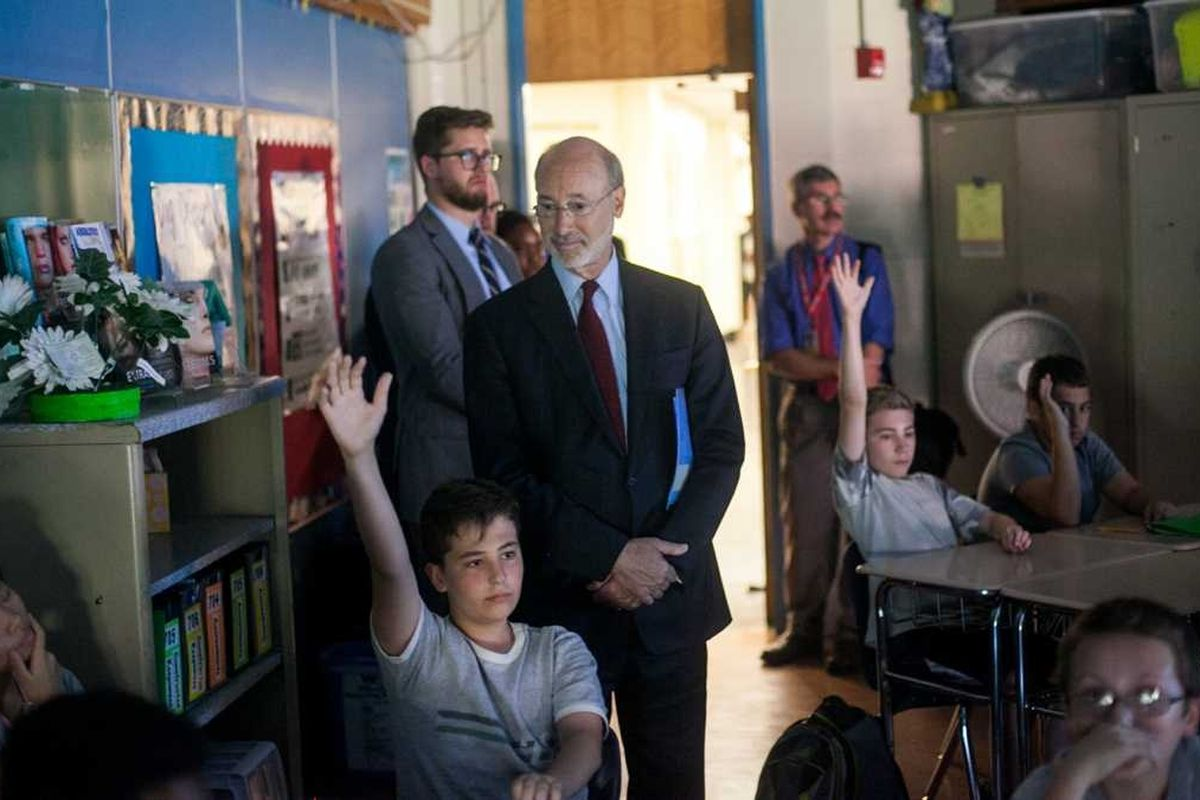 Governor Tom Wolf obvserves students during a visit to Baldi Middle School in Northeast Philadelphia.