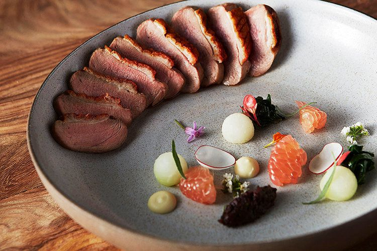 A plate of duck with garnishes.