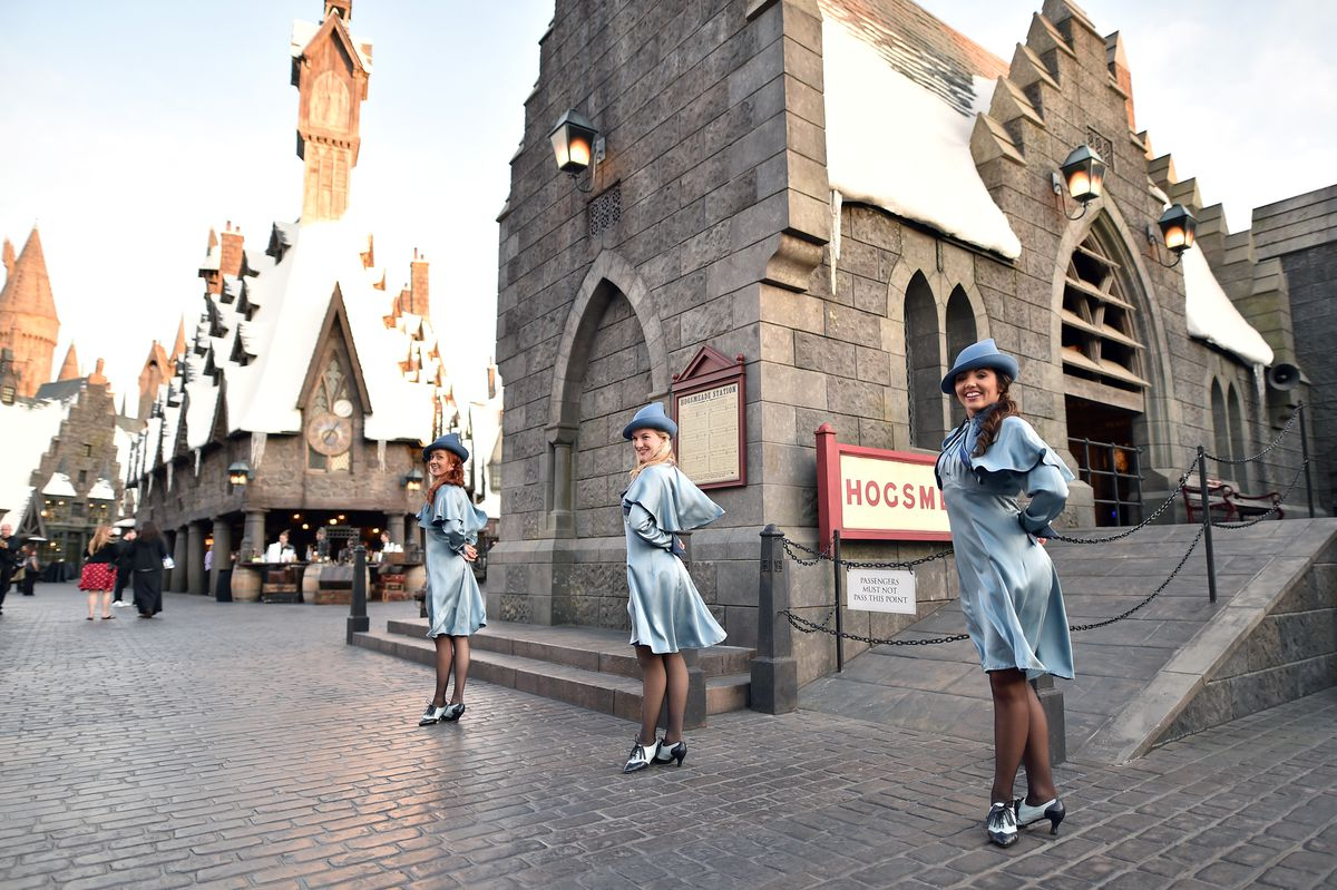 Blue Beauxbaton uniforms in the wild at the Wizarding World Of Harry Potter.