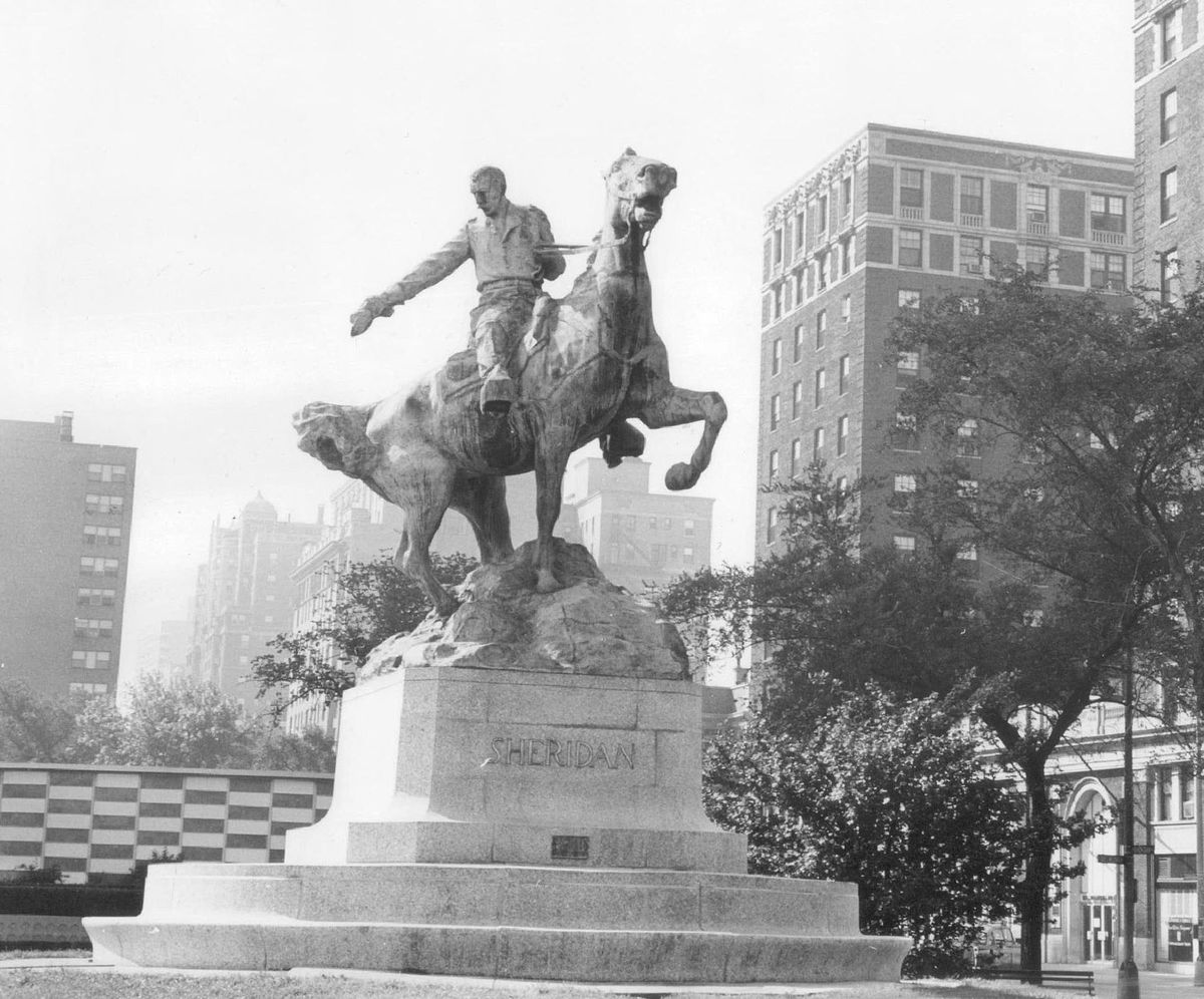 A statue of Gen. Philip Sheridan stands on Belmont Avenue, near DuSable Lake Shore Drive and Sheridan Road, named in the Civil War general's honor.