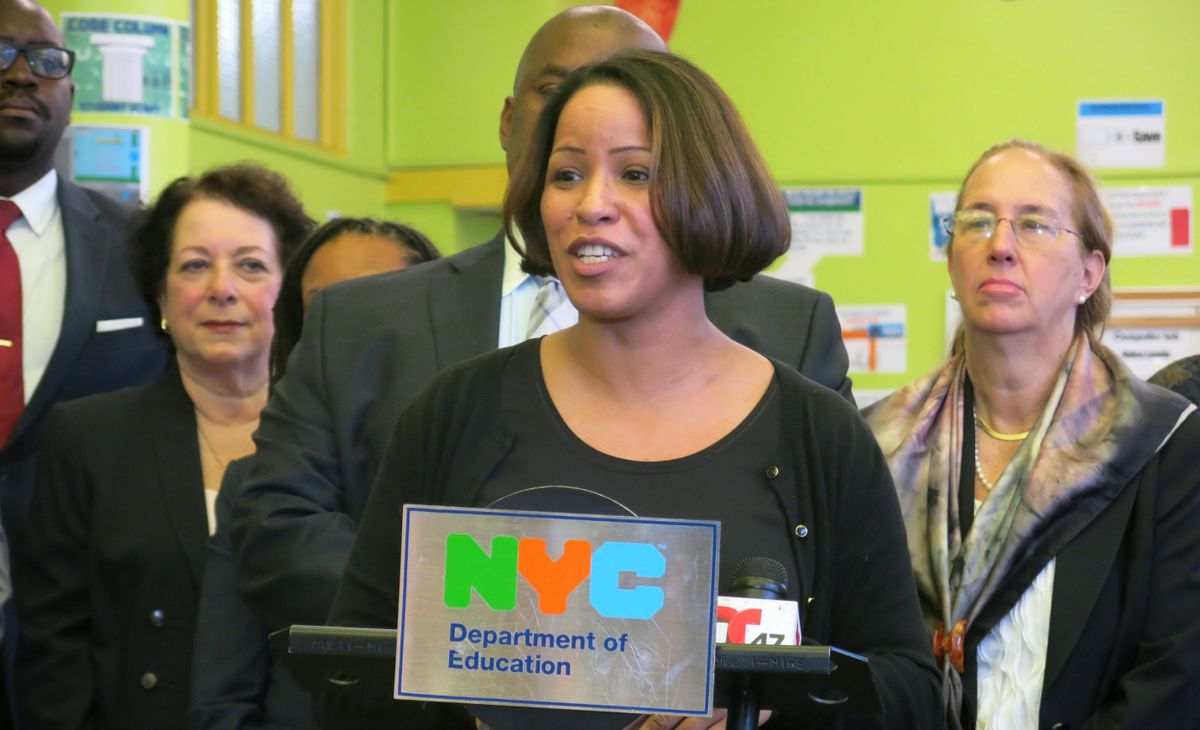"""P.S. 15 Principal Irene Sanchez was so eager to sign up for the city's new """"community schools"""" program she cancelled her summer vacation plans to work on the application."""