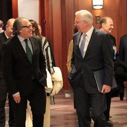 Elder D. Todd Christofferson walks with Luis Almagro, Secretary General of the Organization of American States, at the 73rd general assembly of the Inter American Press Association at the Conference Center Theater in Salt Lake City, Saturday, October 28, 2017.