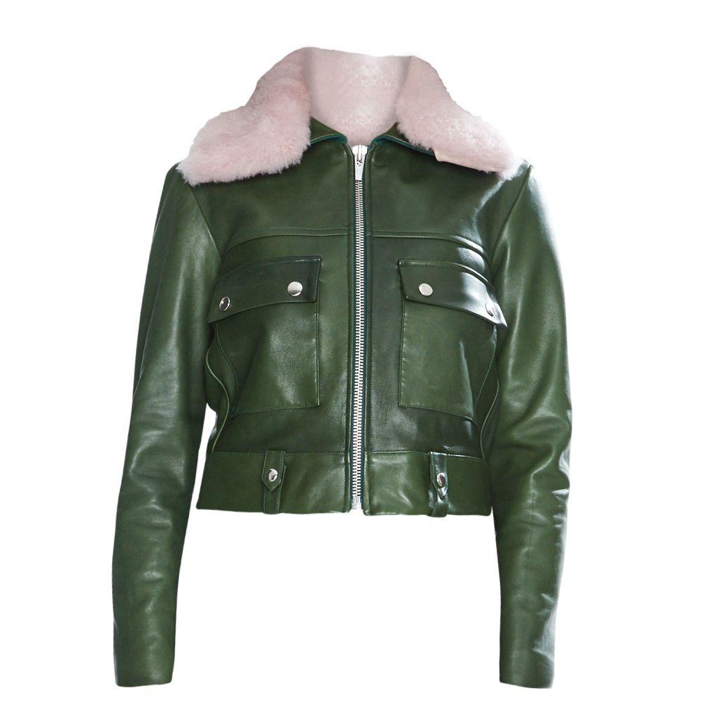 green jacket pink fur