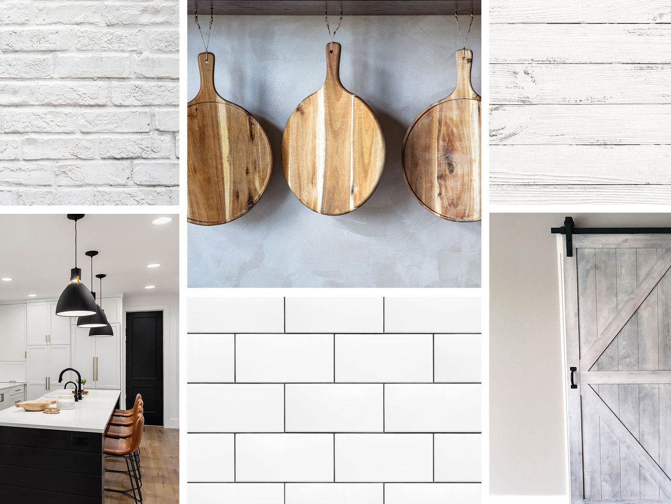 A collage of farmhouse style decor, including white brick, hanging cookery, shiplap, white subway tiles, and a kitchen.