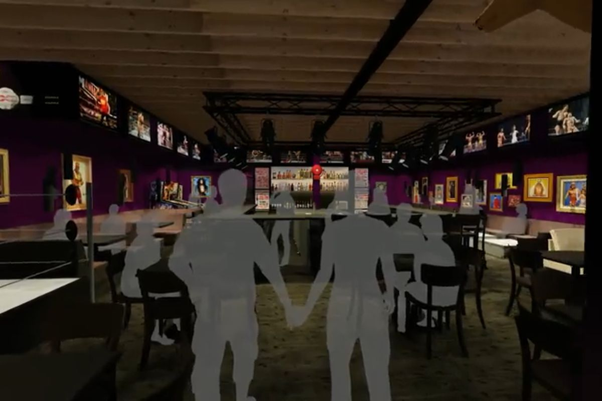 A rendering of Lariat Bar in White Center, with a bar in the center surrounded by stage lighting and purple-painted walls.