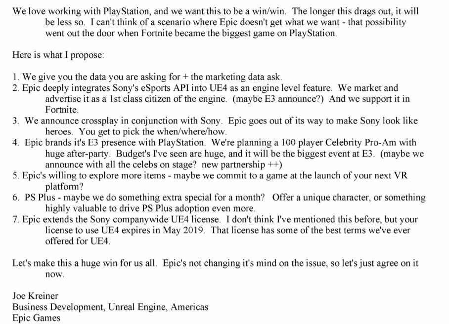 An email from Epic Games to Sony about crossplay for Fortnite