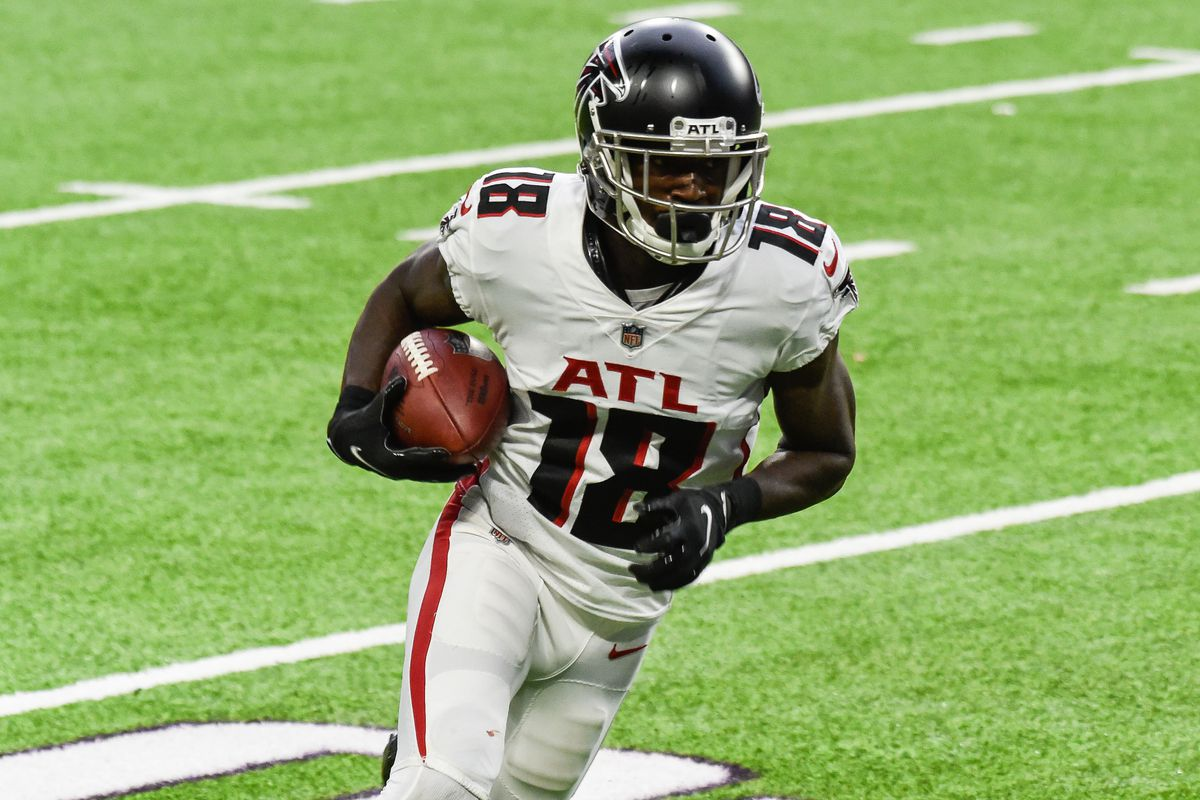 Atlanta Falcons wide receiver Calvin Ridley (18) completes a touchdown reception on a pass from quarterback Matt Ryan (not pictured) against the Minnesota Vikings during the second quarter at U.S. Bank Stadium.