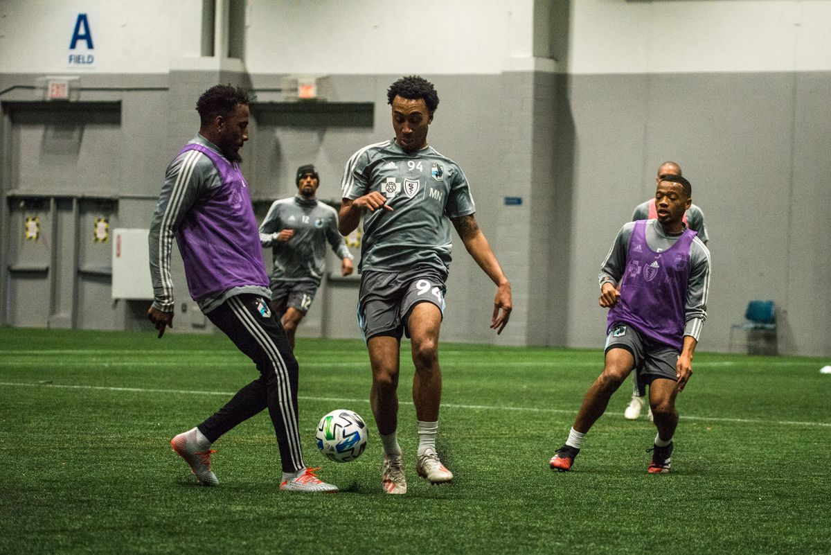 January 21, 2020 - Blaine, Minnesota, United States - Marlon Hairston during a training session at National Sports Center. (Photo by Tim McLaughlin)