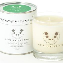 """Sweet grass with jasmine: <b>Love Nature NYC</b> 60 Hour Candle in Grass, <a href=""""http://shop.bybrooklyn.com/index.php?product=LoveNatureCandle&c=40"""">$23.20</a> for 8 oz at By Brooklyn"""