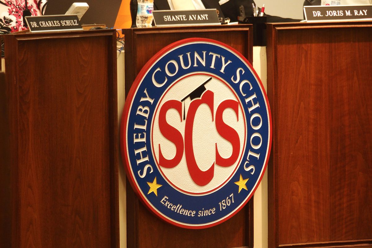 Shelby County Schools logo in the district's central office auditorium.