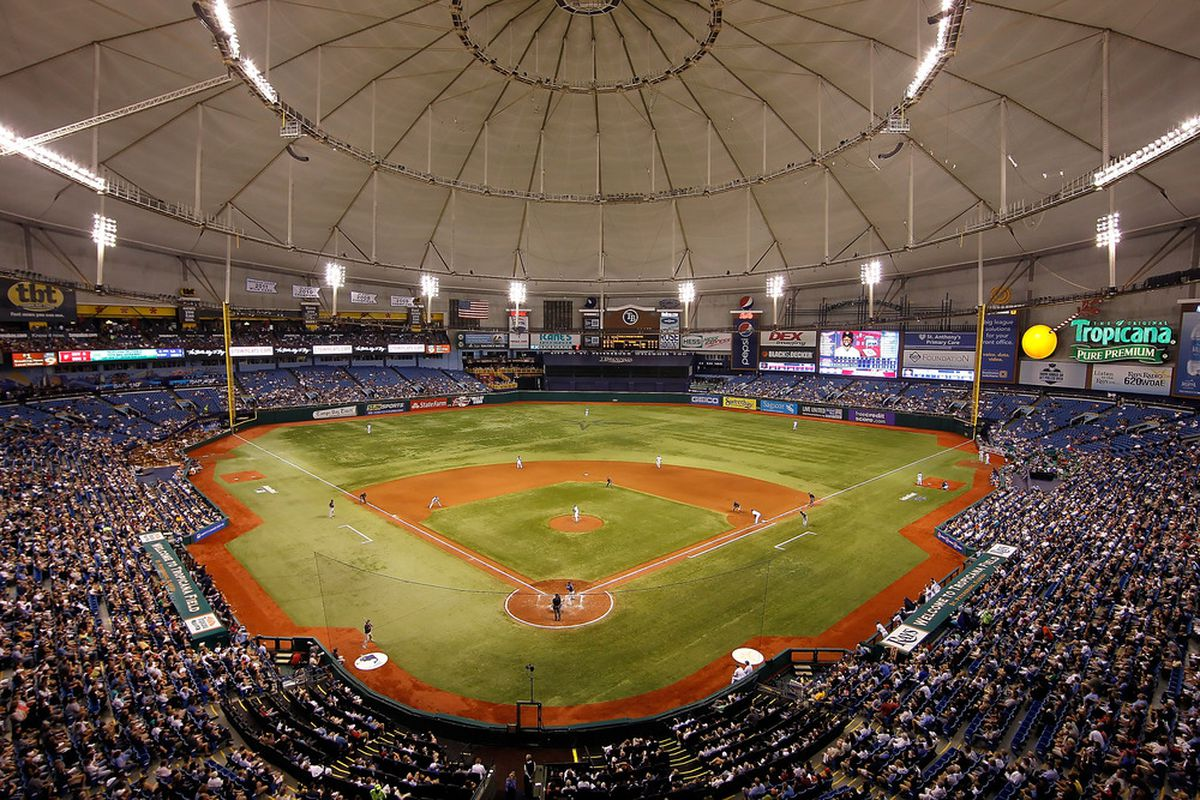 ST. PETERSBURG - APRIL 20:  A general view of Tropicana Field as the Tampa Bay Rays played the Minnesota Twins on April 20, 2012 in St. Petersburg, Florida.  (Photo by J. Meric/Getty Images)