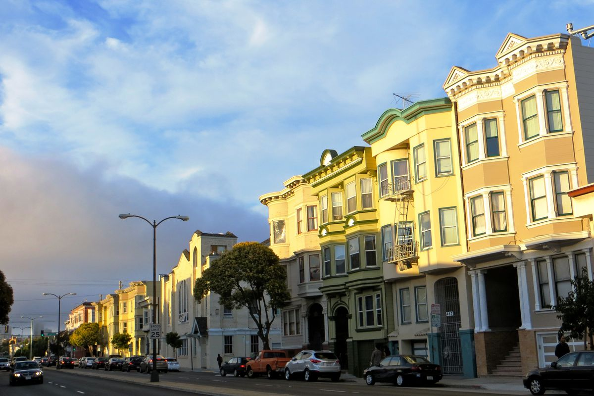 Late afternoon sunlight hitting the sides of buildings in the Mission.