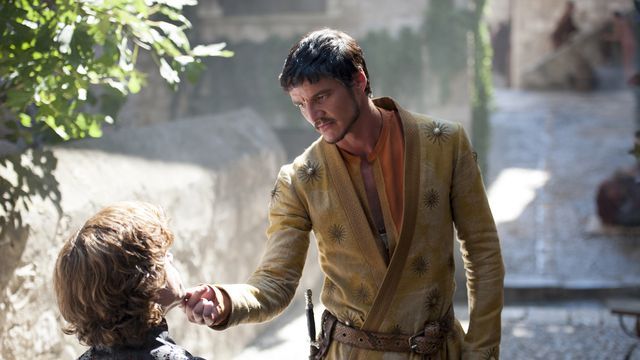 Oberyn Martell (Pedro Pascal) in conversation with Tyrion Lannister (Peter Dinklage) in <em>Game of Thrones</em>.