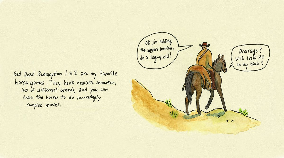 """Comic book illustration of a cowboy on a horse in Red Dead Redemption. """"OK, I'm holding the square button, do a leg-yield!"""" says the cowboy. """"Dressage? With fresh kill on my back?"""" the horse protests."""