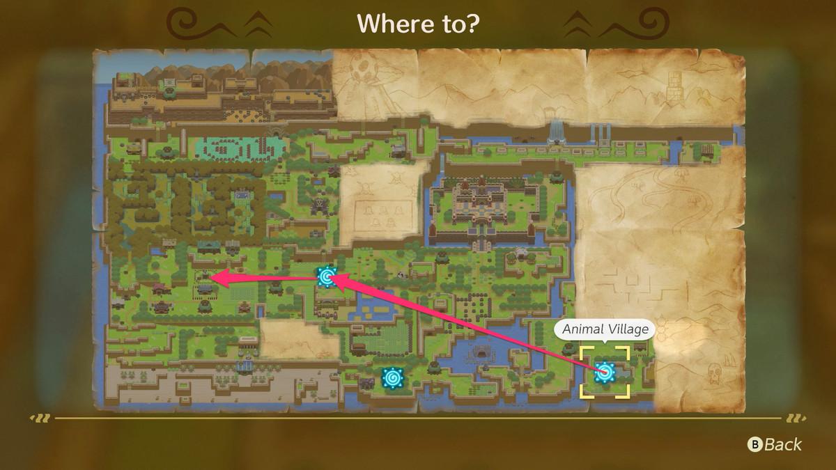 Link's Awakening use the Animal Village warp pad to get to Ukuku Prairie and head west to Mabe Village