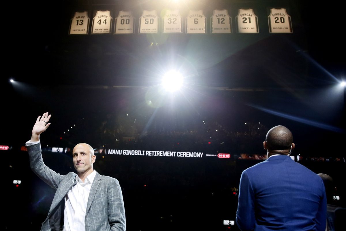 check out 88915 d73c3 Manu Ginobili's San Antonio Spurs jersey retirement ceremony ...