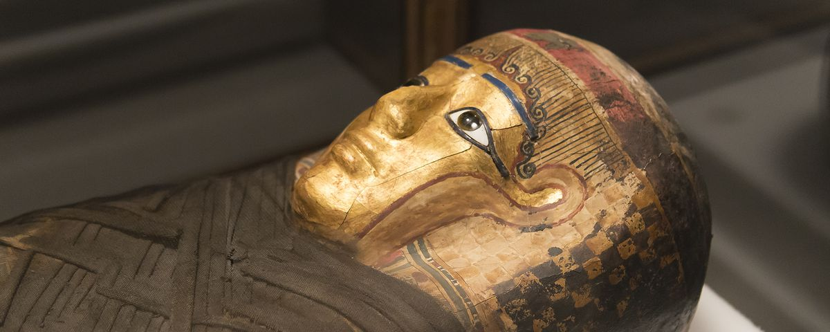 The Gilded Lady, an ancient Egyptian woman, on display at the Field Museum of Natural History in Chicago. In Mummies, visitors can look inside her body using high-resolution CT scans and a sophisticated touchscreen.
