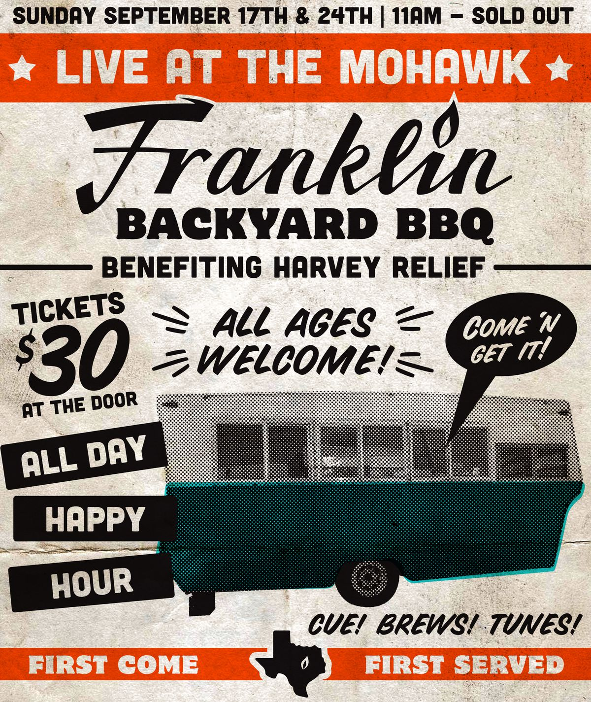 Flyer for Franklin Barbecue's Hurricane Harvey pop-up