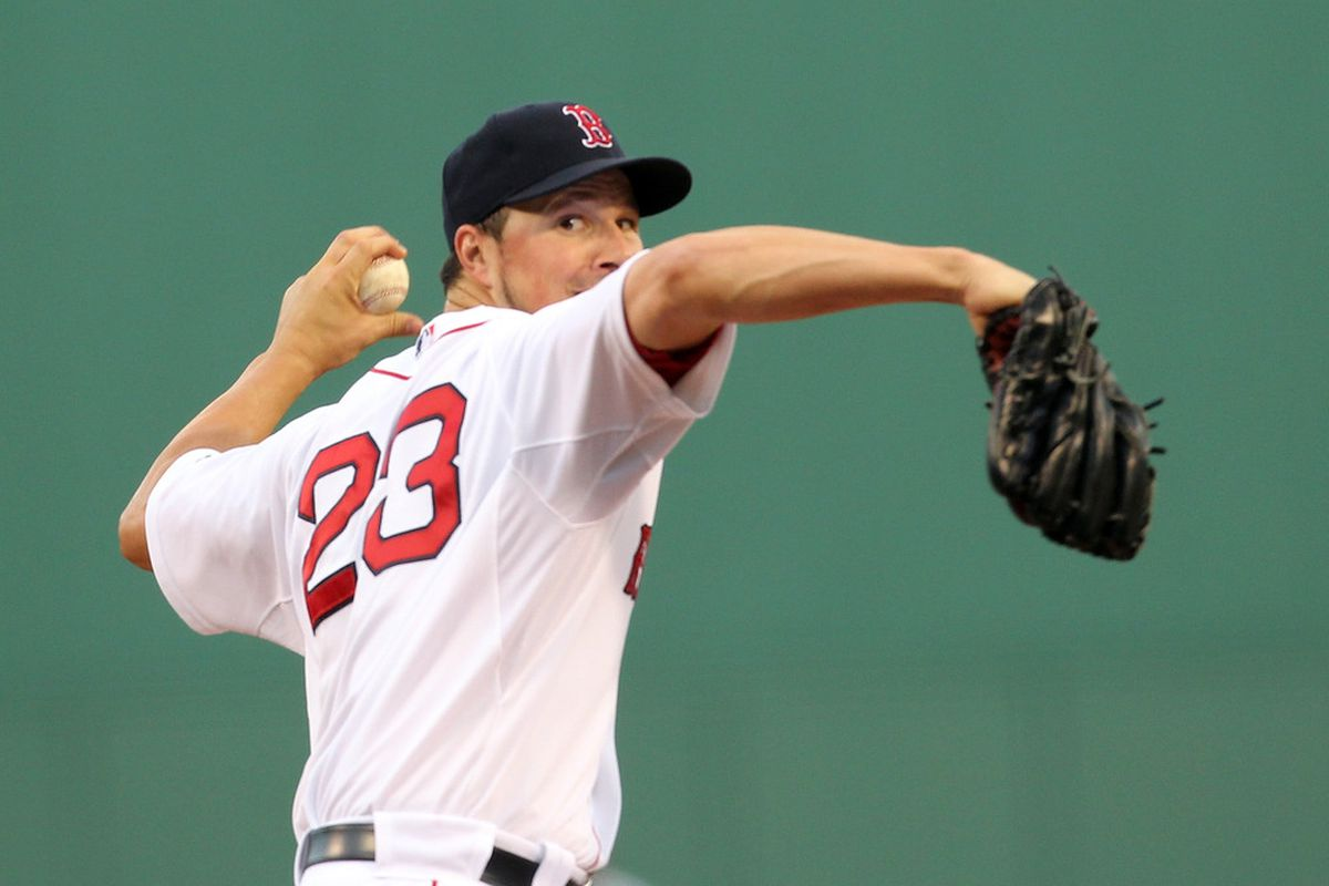 BOSTON - AUGUST 16:  Erik Bedard #23 of the Boston Red Sox throws  against the Tampa Bay Rays in the second game of a doubleheader at Fenway Park on August 16, 2011 in Boston, Massachusetts.  (Photo by Jim Rogash/Getty Images)