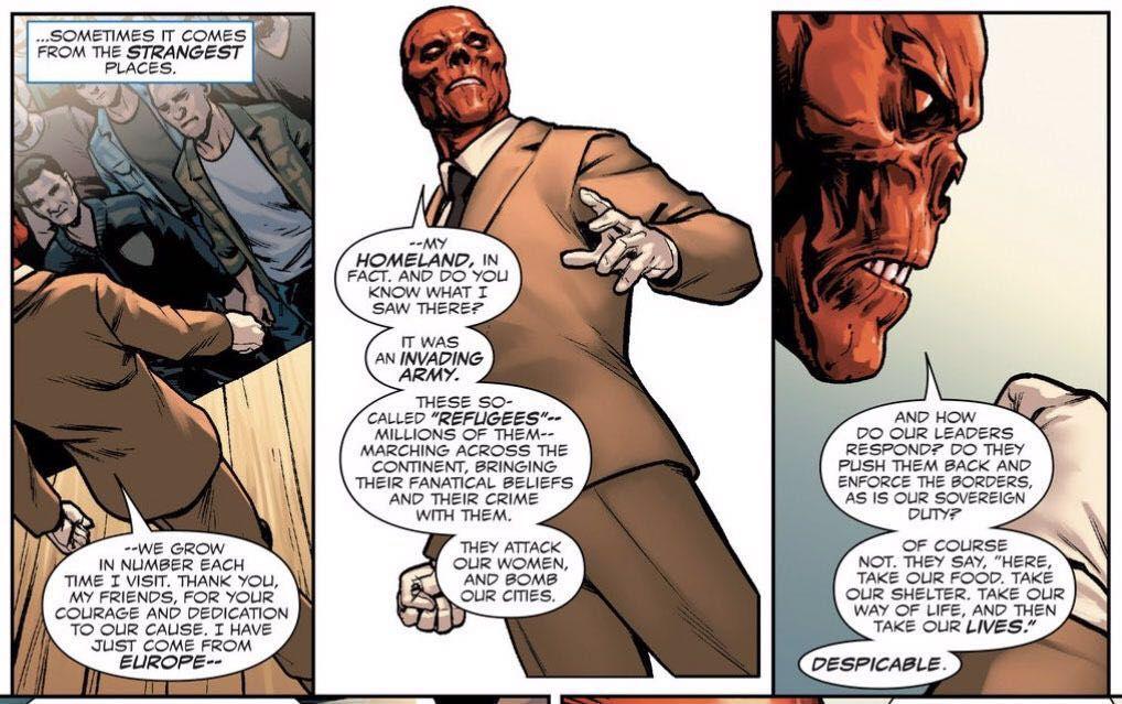 A frame from Marvel Comics where the villain Red Skull uses Trumpian rhetoric.