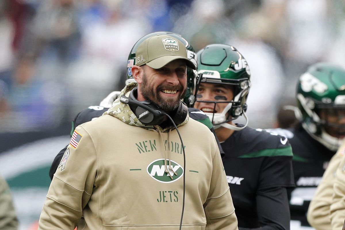 Head coach Adam Gase of the New York Jets in action against the New York Giants at MetLife Stadium on November 10, 2019 in East Rutherford, New Jersey.