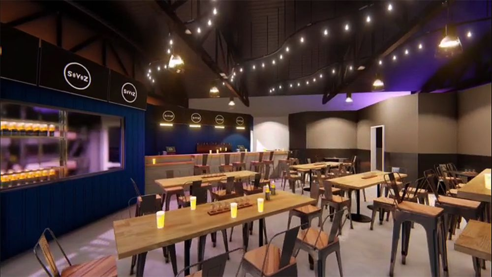 An interior rendering of the main room at the SerVehZah Craft Beer Bottle Shop & Taproom, headed to the Arts District.