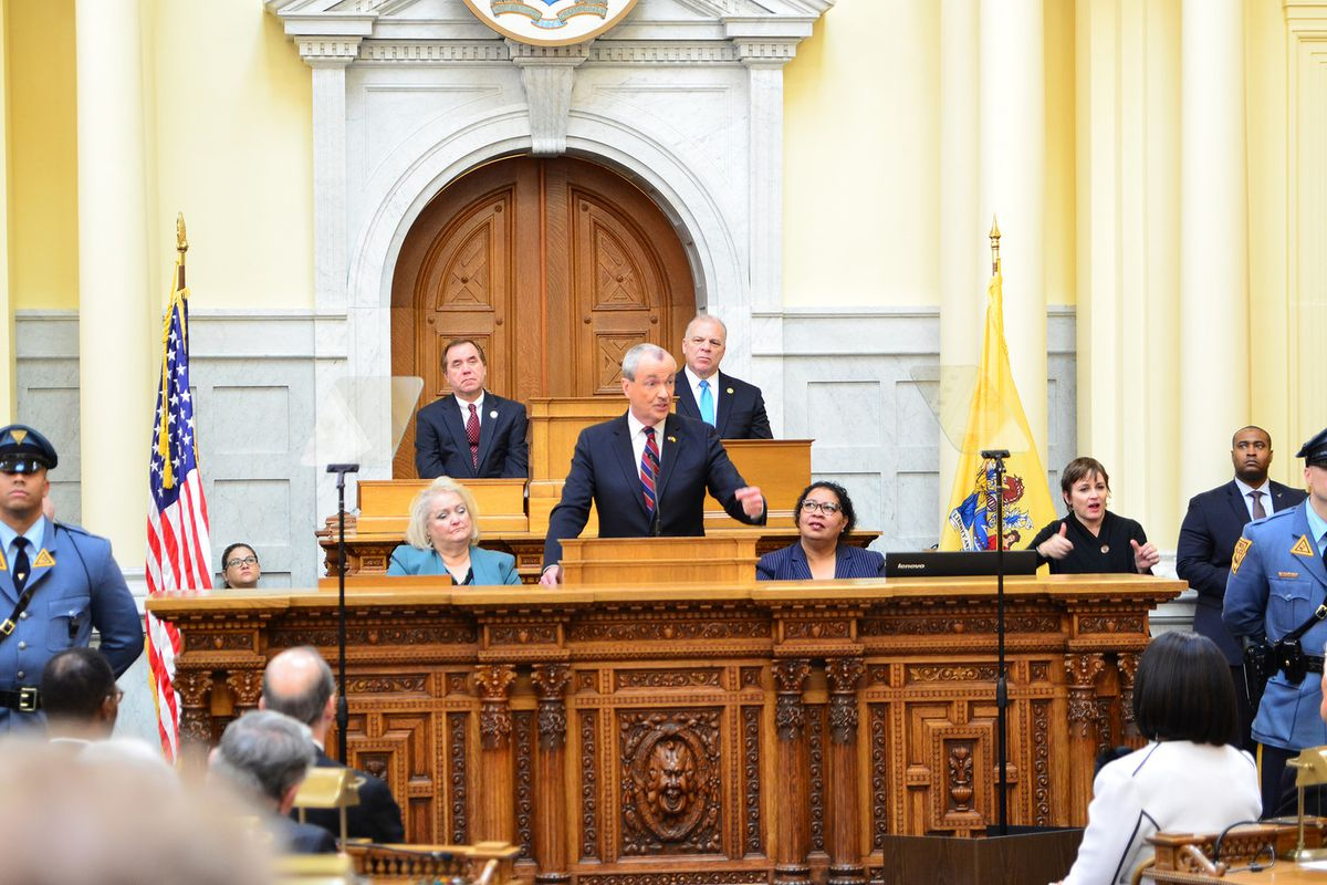 Gov. Phil Murphy giving his first budget address in 2018.