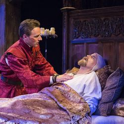 "Sam Ashdown, left, as Prince Henry and Larry Bull as King Henry IV in the Utah Shakespeare Festival's 2015 production of ""Henry IV Part Two."""