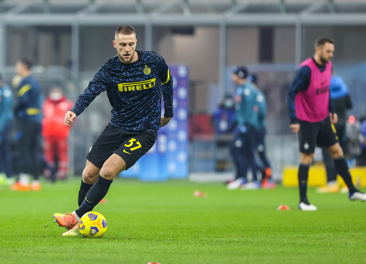 Milan Skriniar of FC Internazionale warms up before the...