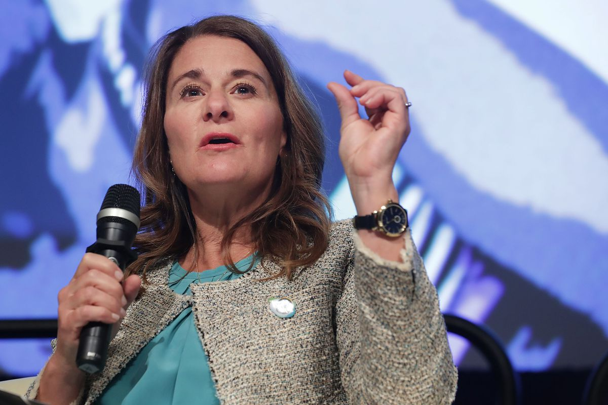 Bill & MelindaGates Foundation co-chair Melinda Gates participates onstage in a panel discussion during the World Bank Group and International Monetary Fund Spring Meetings in Washington, D.C.
