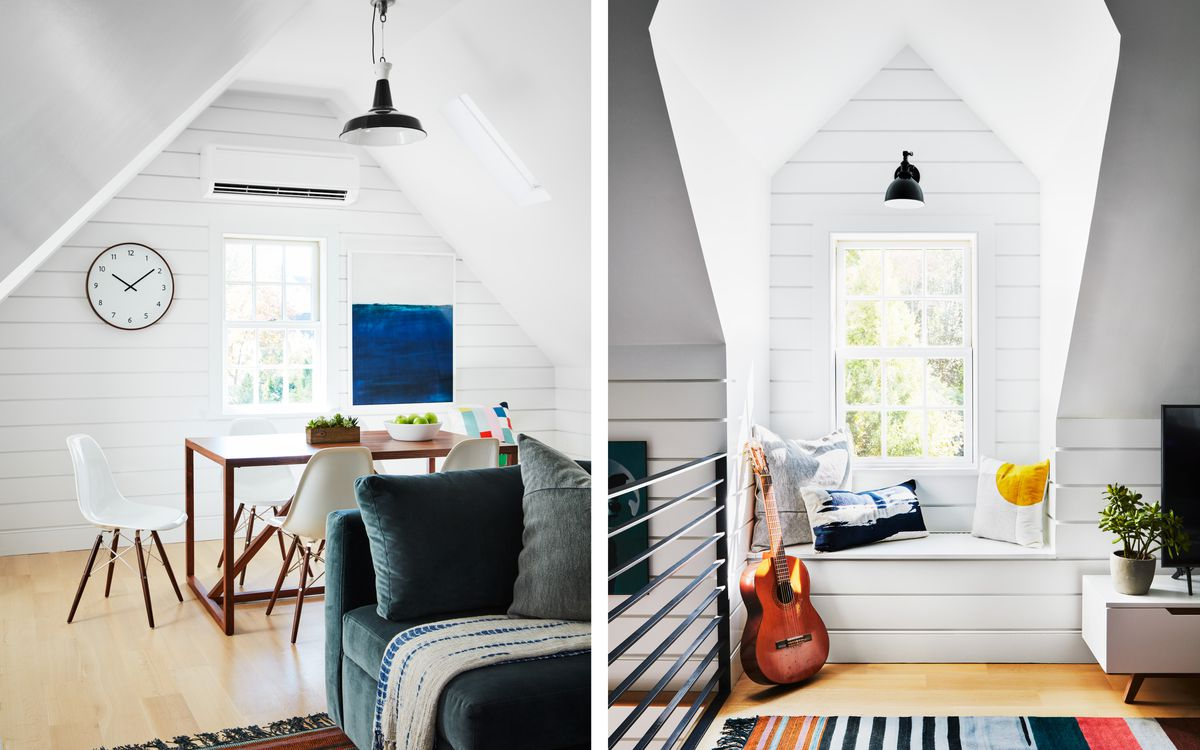 Fall 2021 Before & After Garage, second floor desk/dining area, dormer window