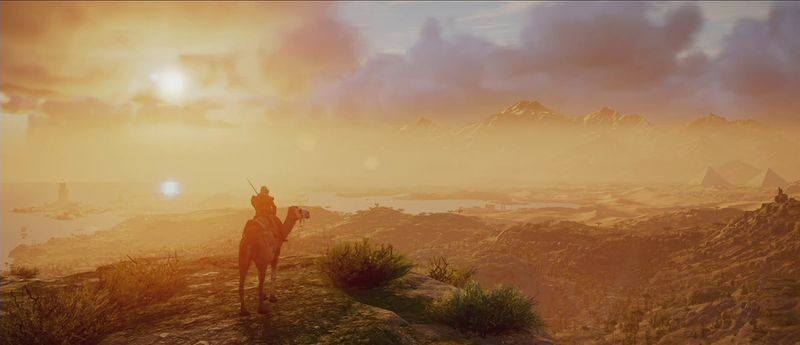 Assassin's Creed Origins - Bayek on horseback at sunset