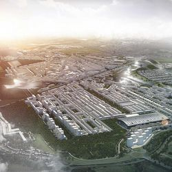 Rick Mather's Heathrow City: old runways repurposed as roads